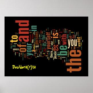 Impressão do poster da arte da palavra de Desidera