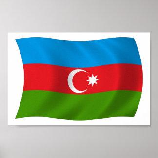 Impressão do poster da bandeira de Azerbaijan