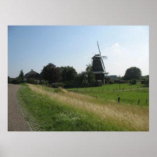 Impressão do poster da foto da paisagem do moinho