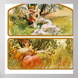 Impressão do poster de Mucha: Duas cenas da nature
