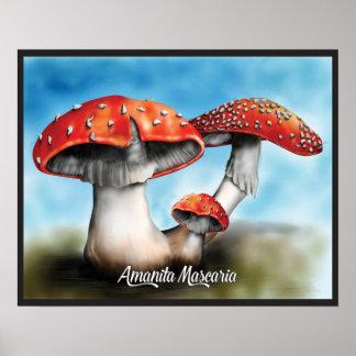 Impressão do poster do cogumelo de Mascaria do ama