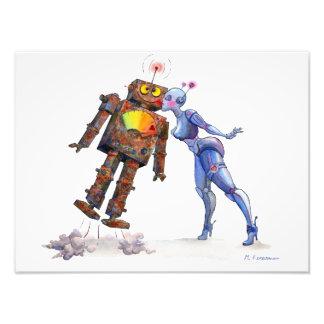 Impressão doce do amor do robô impressão de foto