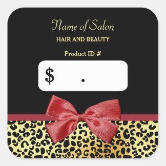 Impressão dourado do leopardo com os preços adesivo quadrado