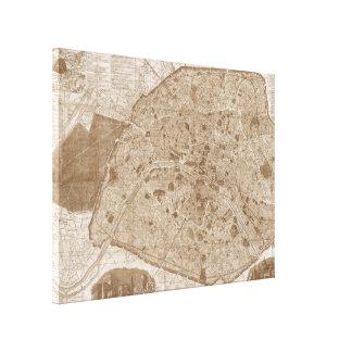 Impressão Em Canvas 1889 Sepia antigo do mapa | de Paris