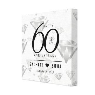 Impressão Em Canvas 60th aniversário de casamento elegante do diamante
