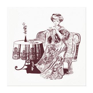 Impressão Em Canvas a senhora bebe o chá
