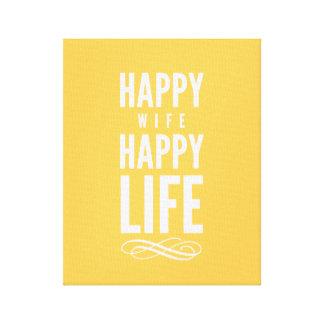 Impressão Em Canvas Amarelo tipográfico das citações da esposa feliz