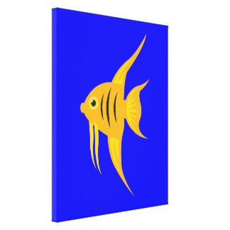 Impressão Em Canvas AngelFish no mar azul profundo