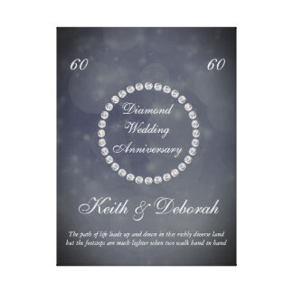 Impressão Em Canvas Aniversário de casamento customizável do diamante
