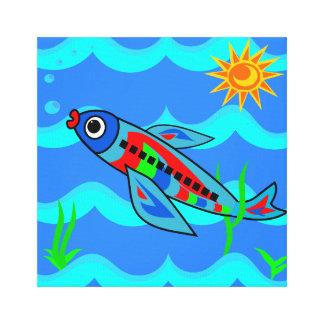 Impressão Em Canvas Avião colorido lunático dos peixes
