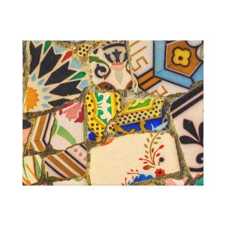 Impressão Em Canvas Azulejos de Parc Guell na espanha de Barcelona