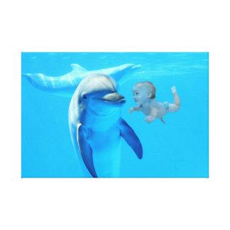 Impressão Em Canvas Bebé and dolphin