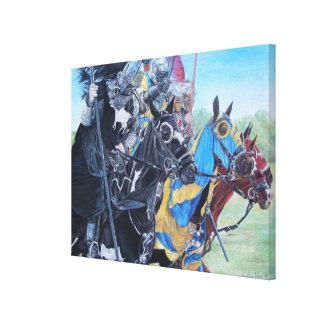 Impressão Em Canvas cavaleiros medievais que jousting na arte