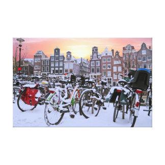 Impressão Em Canvas Cidade cénico de Amsterdão nevado Países Baixos