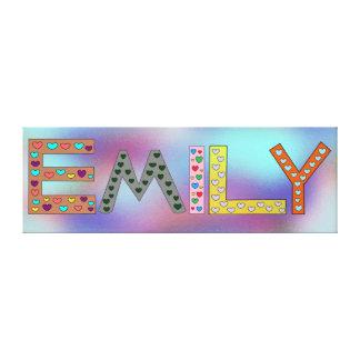 Impressão Em Canvas Da menina colorida das letras de EMILY o design