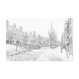 Impressão Em Canvas Desenho de lápis de Amsterdão nevado em Países