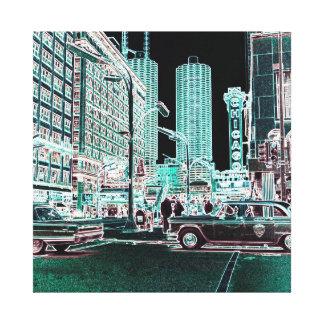 Impressão Em Canvas Estado do teatro de Chicago e néon do teatro 1963