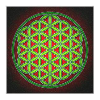 Impressão Em Canvas Flor da vida - verdes em Vermelho manhã