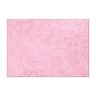Impressão Em Canvas Fluxo de Eco dos peixes da lua - desenho - beira