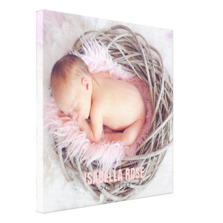 Impressão Em Canvas Foto cor-de-rosa do nome do bebê