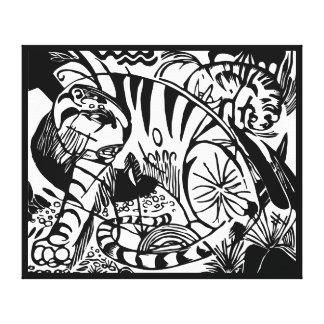 Impressão Em Canvas Franz Marc - tigre preto e branco - arte abstracta