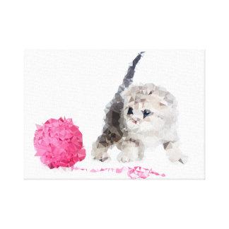 Impressão Em Canvas Gatinho engraçado adorável gracioso Low Poly
