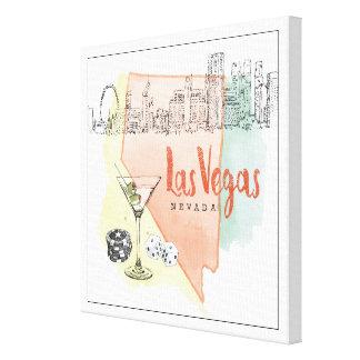 Impressão Em Canvas Imagem do esboço da aguarela de Las Vegas, Nevada