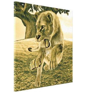 Impressão Em Canvas Leoa da caça
