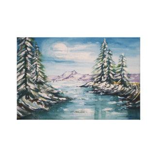 Impressão Em Canvas Lua cheia sobre pinhos nevado
