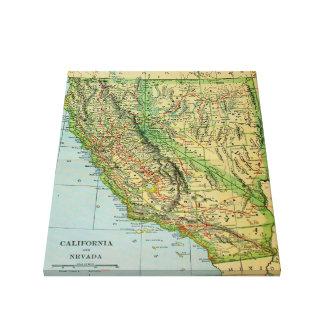 Impressão Em Canvas Mapa do vintage de Califórnia e de Nevada (1905)