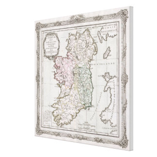 Impressão Em Canvas Mapa do vintage de Ireland (1766)