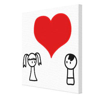 Impressão Em Canvas Menino bonito e menina no doodle do amor