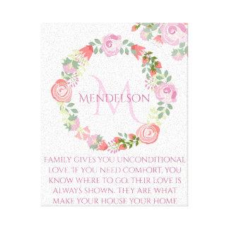 Impressão Em Canvas Monograma floral feito sob encomenda personalizado