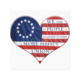 Impressão Em Canvas Nós as pessoas do coração da bandeira americana