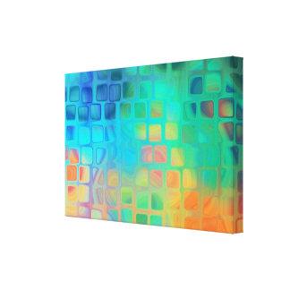 Impressão Em Canvas O abstrato telha a arte verde e azul da parede
