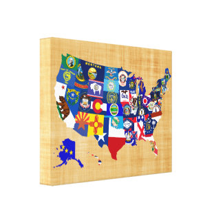 Impressão Em Canvas O estado do mapa dos EUA embandeira o mosaico