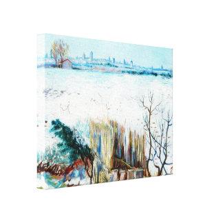 Impressão Em Canvas Paisagem nevado w Arles de Van Gogh, belas artes