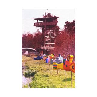 Impressão Em Canvas peixes de vôo de madeira da torre de madeira do