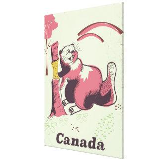 Impressão Em Canvas Poster de viagens do castor do vintage de Canadá