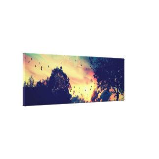 Impressão Em Canvas Rota preta do farol do por do sol do verde do ouro