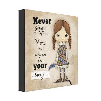 Impressão Em Canvas Sua História-Menina com caneta e tinta