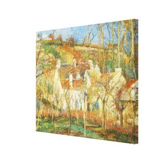 Impressão Em Canvas Telhados vermelhos, canto de uma vila, inverno por