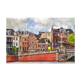 Impressão Em Canvas Terraplenagem do rio Amstel e o Blauwbrug.