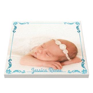 Impressão Em Canvas Turquesa personalizada costume da foto do bebê do