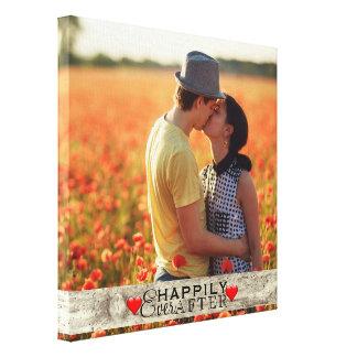 Impressão Em Canvas Wedding rústico da foto feita sob encomenda feliz