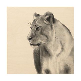 Impressão Em Madeira Animais selvagens da leoa das pastagem do Savanna
