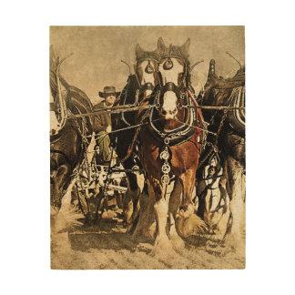 Impressão Em Madeira Cavalos no painel de madeira da arte do campo