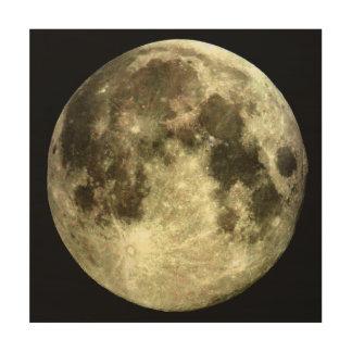 Impressão Em Madeira Lua cheia