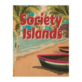 Impressão Em Madeira Poster das férias do vintage das ilhas de