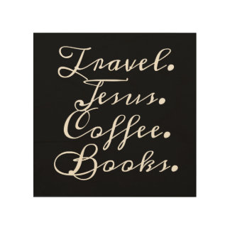 Impressão Em Madeira Viagem, Jesus, café, livros: Arte da parede